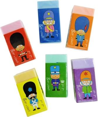 Klassik Soldier Non-Toxic Rectangle Shaped Medium Erasers(Set of 6, Multicolor)