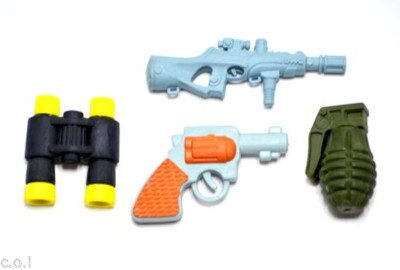 COI KIDS Non-Toxic GUN AND BOMB ERASER Shaped SMALL Erasers