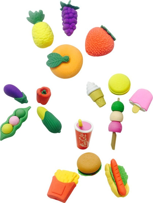 Priyankish Smart Kids Non-Toxic Oval Shaped Small Erasers(Set of 16, Multicolor)