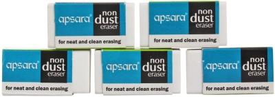 Apsara Non Dust Non-Toxic Rectangular Shaped Regular Erasers(Set of 8, White)