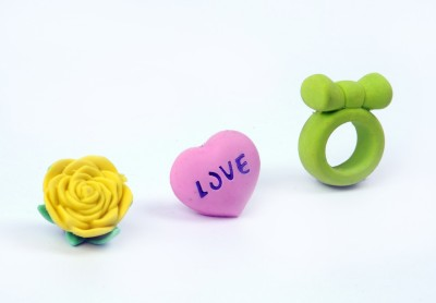 COI KIDS Non-Toxic Flower ,Heart , Ring Shaped SMALL Erasers
