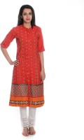Geroo Embroidered Womens A-line Kurta(Red)