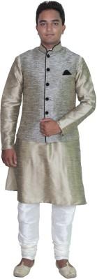 AMG Men's Kurta, Waistcoat and Pyjama Set