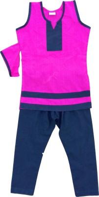 Anush Collections Girl's Kurta and Pyjama Set