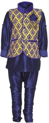 NeedyBee Boy's Kurta, Waistcoat and Breeches Set