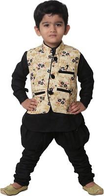 FTC Bazar Boy's Kurta, Waistcoat and Dhoti Pant Set