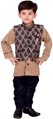 Arshia Fashions Boy's Kurta, Waistcoat and Breeches Set