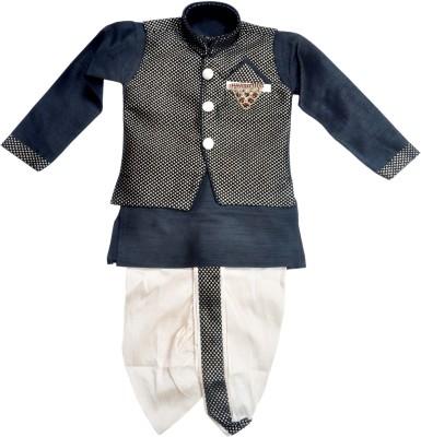 HEY BABY Baby Boy's Ethnic Jacket, Kurta and Dhoti Pant Set