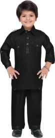 AJ Dezines Boys Pathani Suit Set(Black Pack of 1)