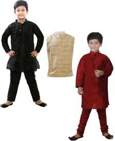 JBN Creation Boys Kurta, Waistcoat and Pyjama Set