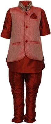 NeedyBee Baby Boy's Kurta, Waistcoat and Breeches Set
