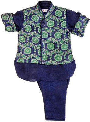 Mom & Me Baby Boy's Kurta, Waistcoat and Pyjama Set