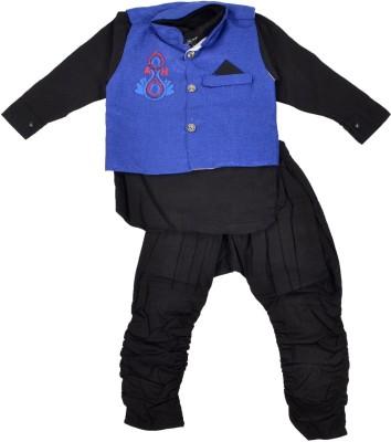 Nut Khut Boy's Ethnic Jacket, Kurta and Dhoti Pant Set