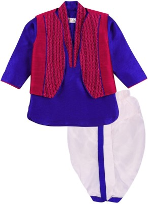 Mom & Me Baby Boy's Ethnic Jacket, Kurta and Dhoti Pant Set