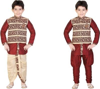 Kute Kids Boy,s Kurta, Waistcoat and Dhoti Pant Set