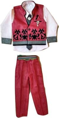 Kapil Collection Boy's Shirt, Waistcoat and Pant Set