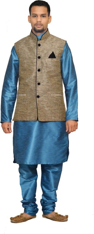 Royal Garments Men's Kurta, Waistcoat and Pyjama Set