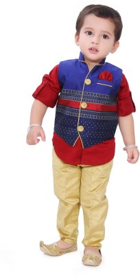 Munna Munni Kids Apparel Boy's Kurta, Waistcoat and Pyjama Set