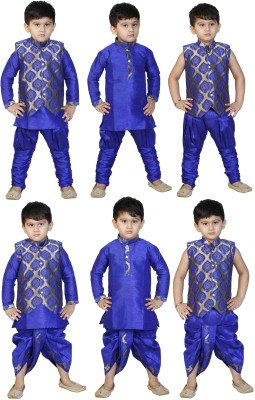 SKDC Boy's Kurta, Waistcoat and Dhoti Pant Set