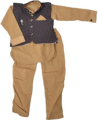 Nut Khut Baby Boy's Ethnic Jacket, Kurta and Dhoti Pant Set