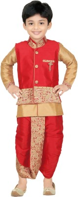 Kute Kids Baby Boy's Ethnic Jacket, Kurta and Dhoti Pant Set