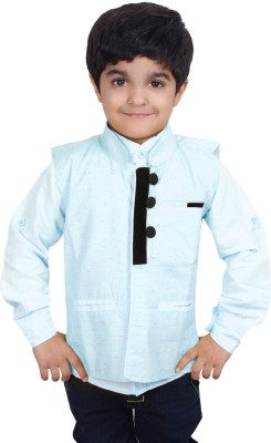 Ice Blue Boy's Shirt & Waistcoat Set