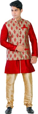 NewLooks Men's Kurta, Waistcoat and Pyjama Set