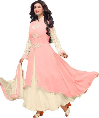 Sitaram Georgette, Net Embellished, Embroidered Semi-stitched Salwar Suit Dupatta & Waistcoat Material
