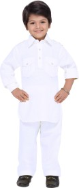 AJ Dezines Boys Pathani Suit Set(White Pack of 1)
