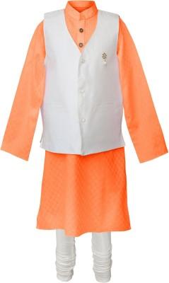 Peaches Boy's Kurta, Waistcoat and Pyjama Set