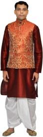 Royal Garments Men's Ethnic Jacket, Kurta and Dhoti Pant Set