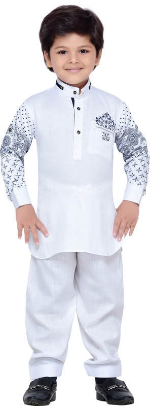 AJ Dezines Boys Pathani Suit Set(White Pack of 1)