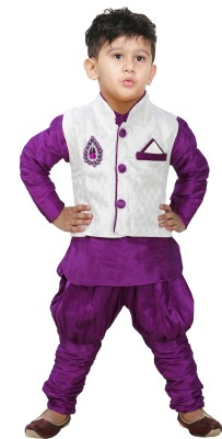 JBN Creation Boy's Kurta, Waistcoat and Pyjama Set