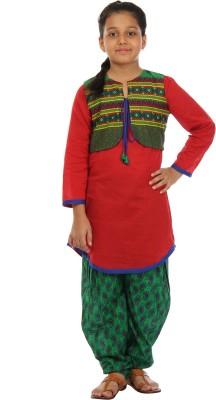Kids On Board Girl's Kurta, Waistcoat and Pyjama Set