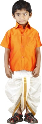 kaatru Baby Boy's Shirt & Dhoti Set