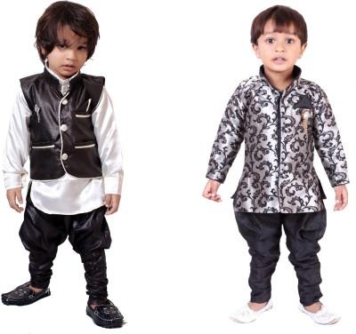 Tiny Toon Baby Boy's Kurta, Waistcoat and Breeches Set