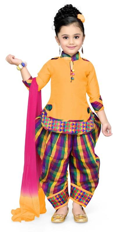 Aarika Girls Festive & Party Kurti, Patiala and Dupatta Set(Yellow...