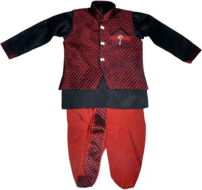 HEY BABY Boy's Ethnic Jacket, Kurta and Dhoti Pant Set