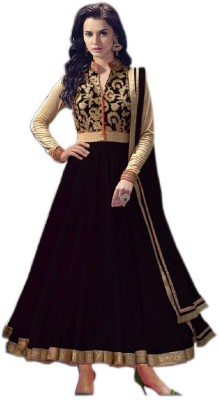 Hanscreation Net Embroidered Semi-stitched Salwar Suit Dupatta Material