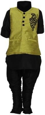 NeedyBee Boy's Kurta, Waistcoat and Pyjama Set