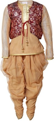 Little Radha Girl's Ethnic Jacket, Kurta and Dhoti Pant Set