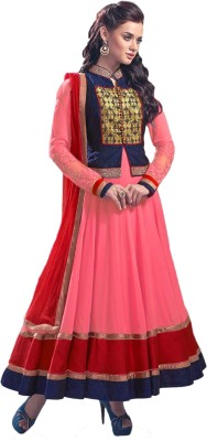 Sitaram Georgette, Net Embellished, Embroidered Semi-stitched Gown, Salwar and Dupatta Material