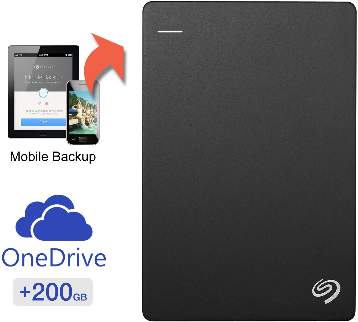 Seagate 2 TB Wired External Hard Disk Drive With 200 GB