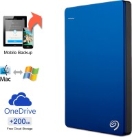 View Seagate Backup Plus Slim 2 TB Wired External Hard Disk Drive with  200 GB  Cloud Storage Price Online(Seagate)