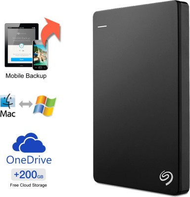 Seagate Backup Plus Slim 1 TB Wired External Hard Disk Drive with 200 GB Cloud Storage