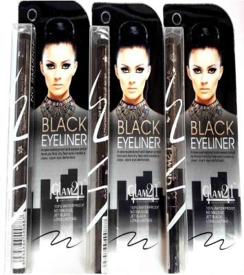 Glam 21 Water Proof Black Eyeliner Pack of 3 12 g