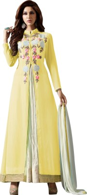 Shonaya Georgette Embroidered Semi-stitched Salwar Suit Dupatta Material