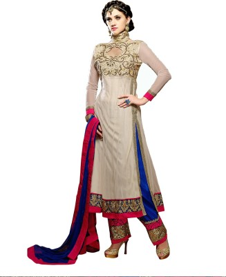 Vivels Georgette Self Design Semi-stitched Salwar Suit Dupatta Material