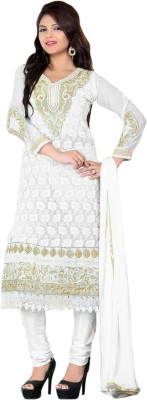 Fashion Fashion Hub Georgette Embroidered Semi-stitched Salwar Suit Dupatta Material
