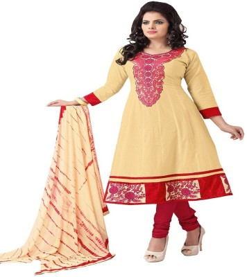 Aashvi Creation Cotton Embroidered Semi-stitched Salwar Suit Dupatta Material
